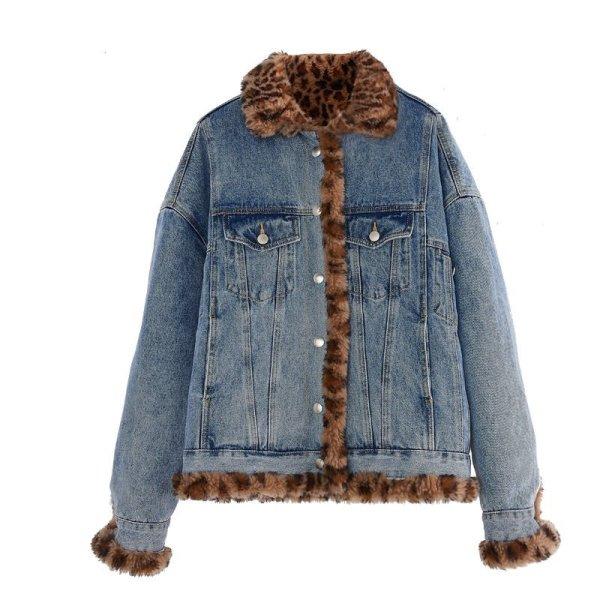 画像1: Women's Sheepskin Reversible Denim G Jean Jacket Jacket シープスキンリバーシブルオーバーサイズデニムGジャン コート ジャケット (1)