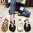 画像3:  women's Flat lace-up shoes with fur sneakers ファー付きフラットレースアップシューズ スニーカースニーカー  スリッポン (3)