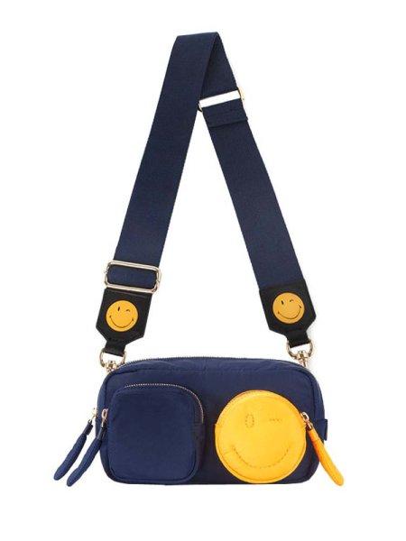 画像1:  woman's Smile Canvas Personality Nylon Wide Shoulder Bag bag スマイルスクエアショルダーバック ハンドバック (1)