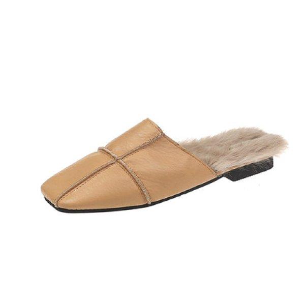 画像1: women's  simple square head temperament flat shoes  hair half drag Muller shoesファー付きシンプルフラットハーフサンダルパンプス ミュール (1)