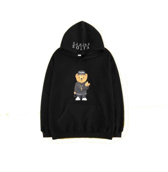 画像1: 即納 セール SALE Compton Bear men's Loose hip hop street fashion long-sleeved sweater shirt ユニセックス男女兼用コンプトンベアープリントフーディーパーカー スウェット (1)