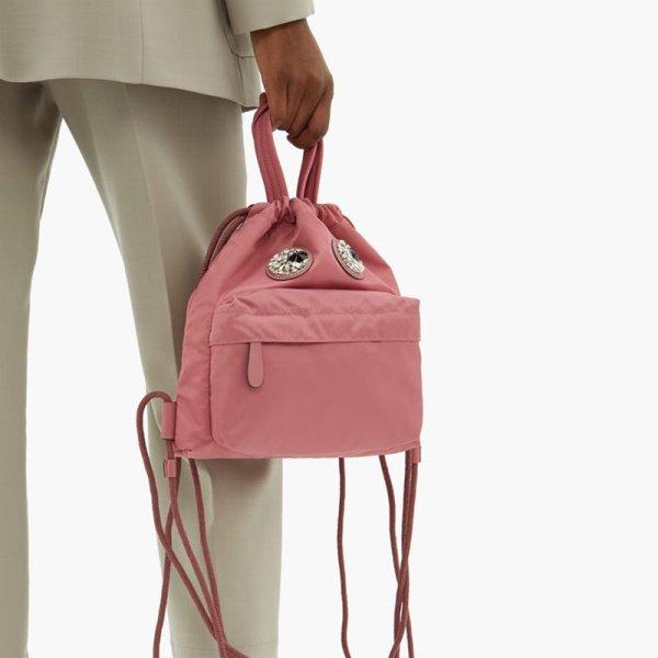 画像1:  woman's rhinestone eyes nylon oxford backpack backpack  ラインストーンアイズナイロンオックスフォードバックパック バックトートハンドバック (1)