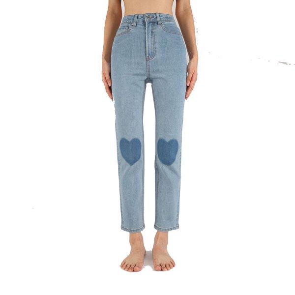 画像1: women's  light blue knee love small straight light blue soft jeans pants trousers  ハイウエストウォッシュライトブルーハート付きストレートライトブルーソフトジーンズ (1)