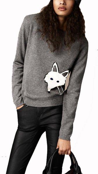 画像1: Women's round neckSweater  フォックスモチーフ付きラウンドネックニットセーター (1)