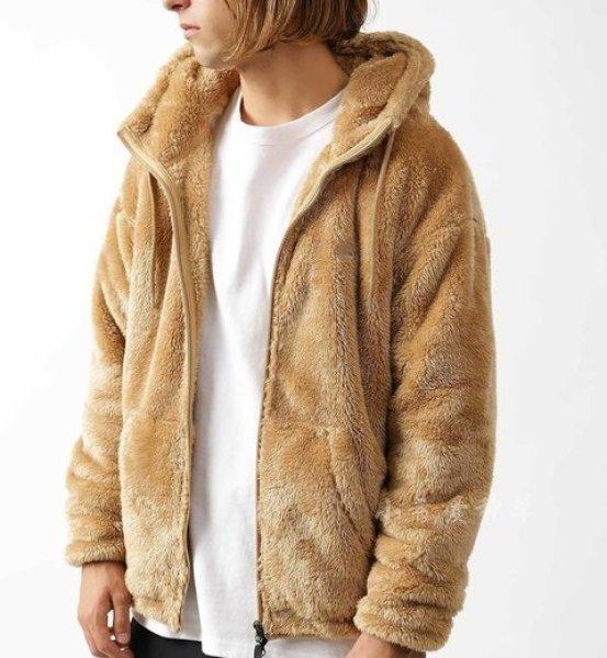 画像1:   Men's lamb soft fleece  hooded loose Parker blouson ジップアップモコモコフーディーパーカー ジャケット (1)