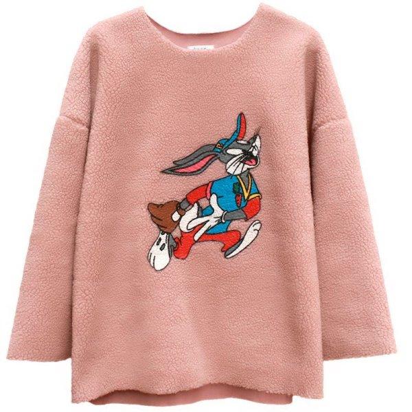 画像1: Women' lamb hair sweater s sweater Looney Tunes Bucks Bunny バックスバニー刺繍モコモコフリースプルオーバー (1)