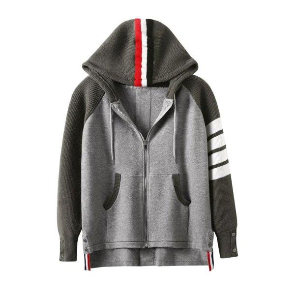 画像1:   Men'sthree-color striped stitching shirt thick coat loose long-sleeved men and women hooded sweater zipper cardigan 男女兼用ユニセックスジップアップフーディーカーディガン ジャケット (1)