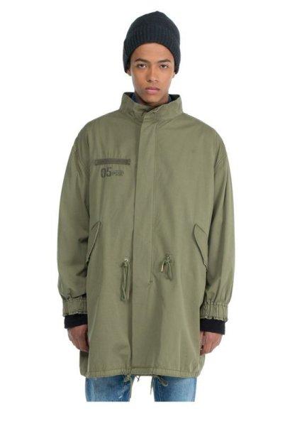 画像1:   Men's military green windproof early  long coat jacket  男女兼用ユニセックスミリタリーグリーンロングコート ウインドブレーカー (1)