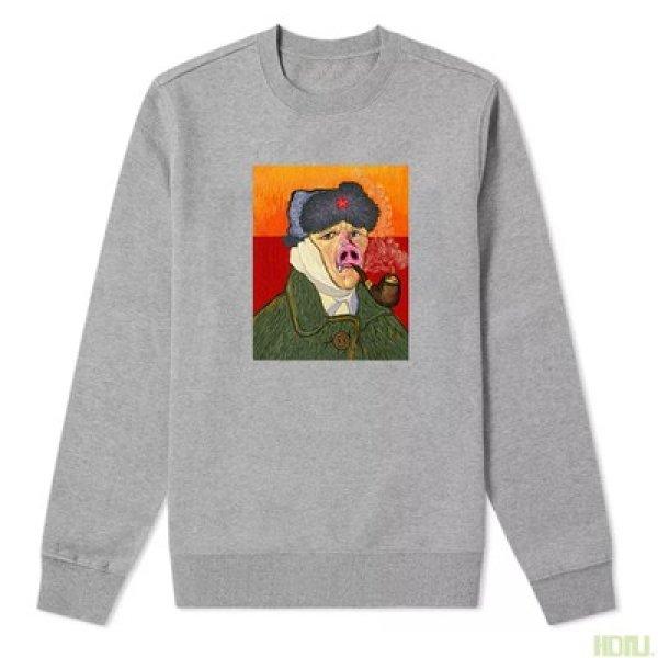 画像1: men's  Van Gogh self-portrait Sweater funny long-sleeved round neck art joint literary shirtmen and women  hooded pullover ユニセッ クス男女兼用 ヴァン ゴッホ パロディープリントプルオーバー スウェットトレーナー (1)