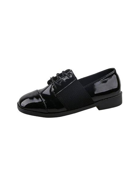 画像1: women's Lace-up flat loafers shoes レースアップローファー パンプス (1)