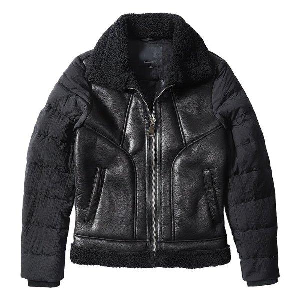 画像1:   Men's  White duck down + fur down jacket coat  ダウン&レザージャケット ブルゾンコート (1)