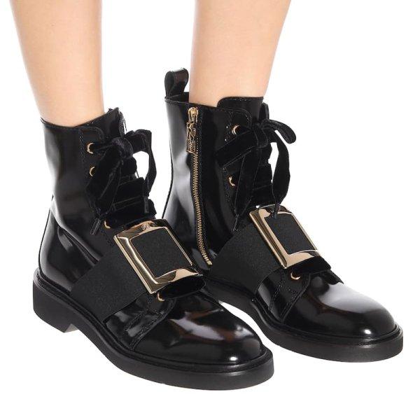 画像1:  women's square buckle Martin boots booties boots エナメルレザーバックル付きショートブーツ マーティンブーツ (1)