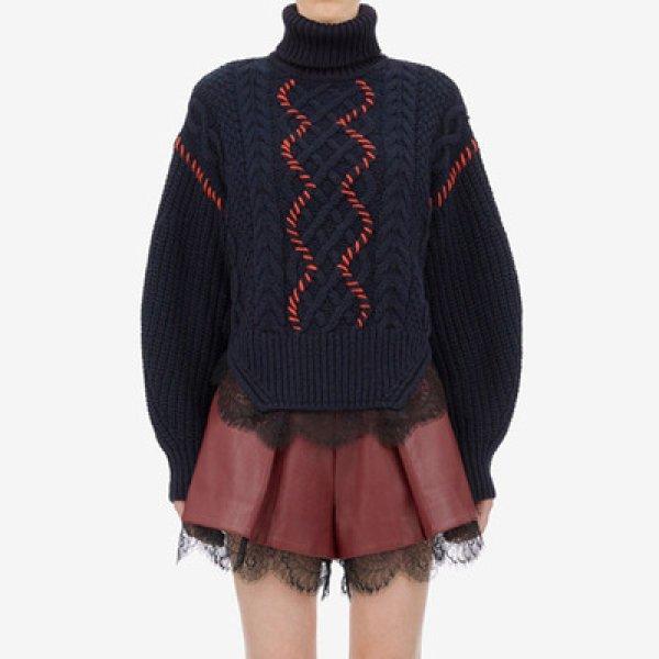 画像1: Women's  waist stitching lace side fashion long-sleeved round neck wild sweater ウエストステッチレースサイドファッション長袖ラウンドネックセータープルオーバー  (1)