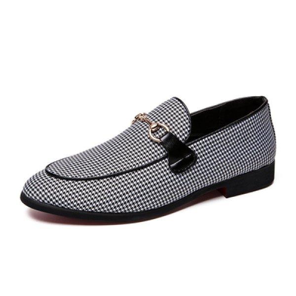 画像1: Men's Houndstooth Flat basic Slip-on shoes Sneakers  千鳥格子フラットスリッポン スニーカー (1)