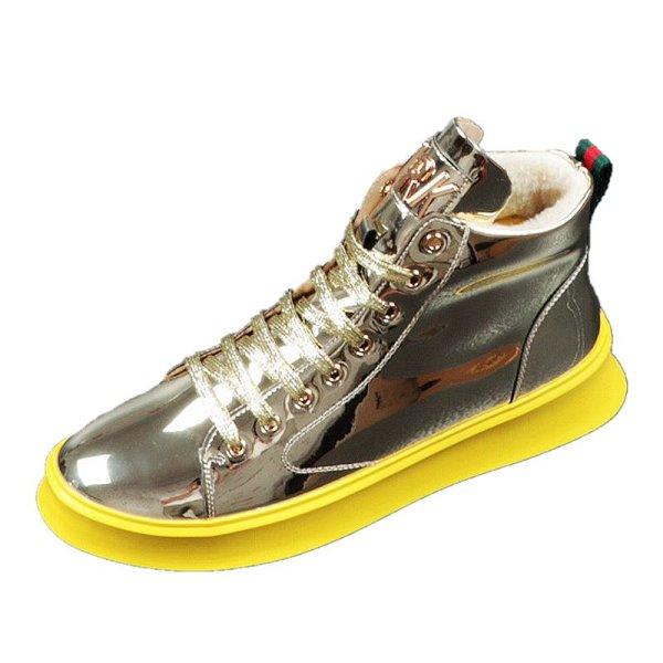 画像1:  Men's Leather lace-up gold hip hop sneakers  shoes  レザーレースアップゴールドスニーカーカジュアル シューズ  (1)