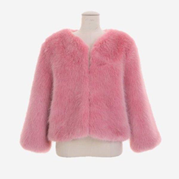 画像1: Women's fox fur grass shirt coat  エコファーショートコートジャケット  (1)