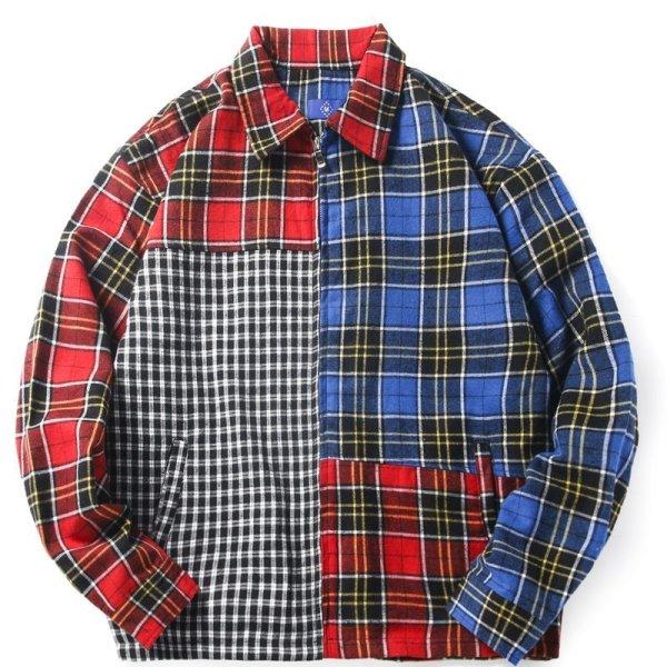 画像1:   Men's contrast color plaid zipper shirt jacket men and women 男女兼用ユニセックス チェック柄ジッパーシャツ ジャケット ブルゾン (1)
