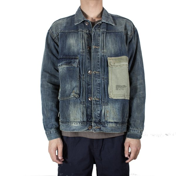 画像1:   Men's washed old military wind tooling denim jacket coat  wash short denim jacket  男女兼用ユニセックスデニムジャケットGジャン (1)