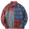 画像6:   Men's contrast color plaid zipper shirt jacket men and women 男女兼用ユニセックス チェック柄ジッパーシャツ ジャケット ブルゾン (6)