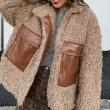 画像5: Women's   imitation lamb hair stitching jacket coat short coat フェイクエコラムファーショートコート ラムファージャケットブルゾン  (5)