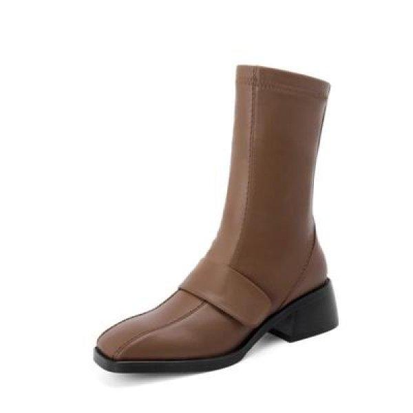 画像1:  women's square head leather  flat boots short boots  レザーベルトフラットブーツマーティンブーツ   (1)