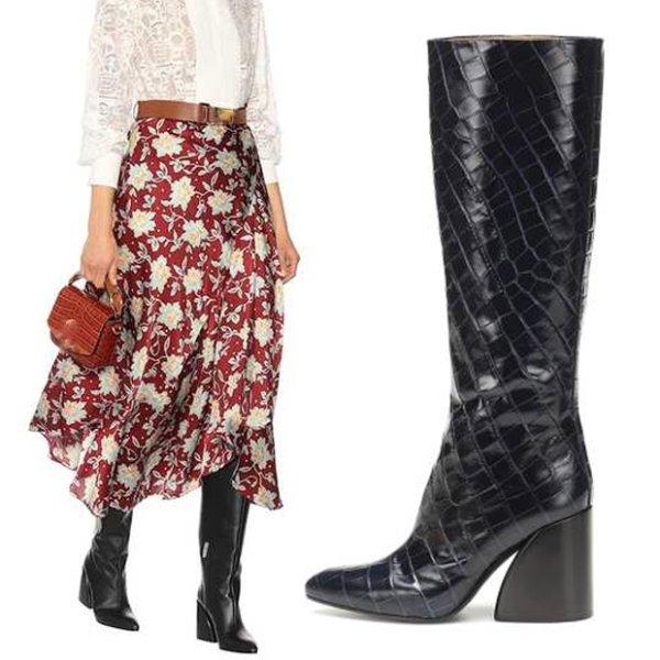 画像1:  women's high heels long boots leather boots  レザー太目ヒールシンプルロングブーツ (1)