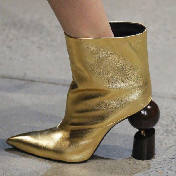画像1:  women's leather high-heeled pointed sheepskin shaped with a pedal ankle boots キャットウォーク変形ヒールショートブーツシングルブーツアンクルブーティブーツ  ショートブーツ   (1)