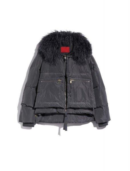 画像1: Women's  short down jacket short coat ビーチウールファー付きダウンジャケットブルゾン  (1)