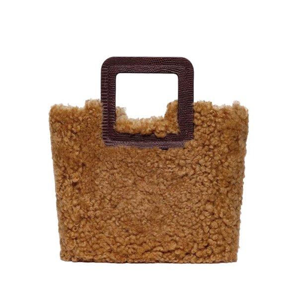 画像1: Woman's  woolen tote bag shoulder bagモコモココウールトートバッグ ショルダーバック メッセンジャーバッグ ハンドバック (1)