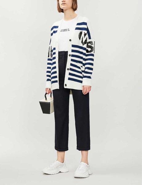 画像1: Women's  V-neck single-breasted striped sequined letter knit cardigan sweater    Vネックボーダー&スパンコールロゴ長袖カーディガン セータープルオーバー  (1)
