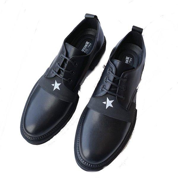 画像1: Men's round head men's British business dress shoesレースアップレザー スター星付きラウンドヘッドシューズ スリッポン スニーカー (1)