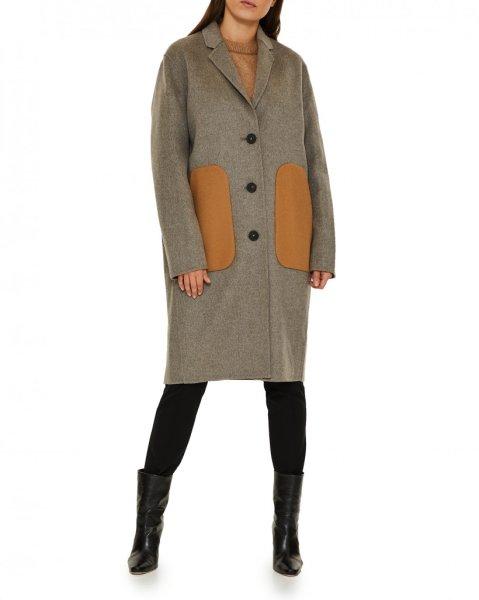 画像1: women's single-breasted contrast pocket stone gray long woolen coat  シングルブレストコントラストポケットストーングレーロングウールコート (1)