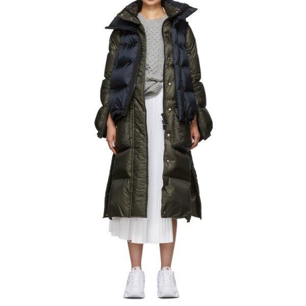 画像1: women's  stitching  down jacket long coat  ダウンバイカラーロングウールコート (1)