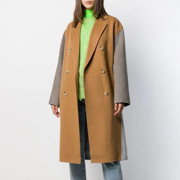 画像1: women'sCamel color matching wedge long double-sided coat キャメルカラーマッチングウェッジロングコートダブルブレスト (1)