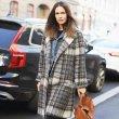 画像6: women's  Elegant retro plaid alpaca fleece coat jacket long coat  チェック柄アルパカフリースコートウールコート (6)