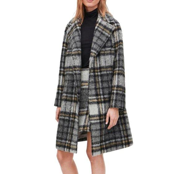 画像1: women's  Elegant retro plaid alpaca fleece coat jacket long coat  チェック柄アルパカフリースコートウールコート (1)