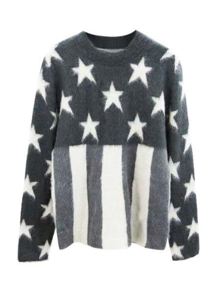 画像1: Women's stars mohair long-sleeved sweater loose round neck pullover モヘア星&ストライプ柄長袖セーター プルオーバー  (1)