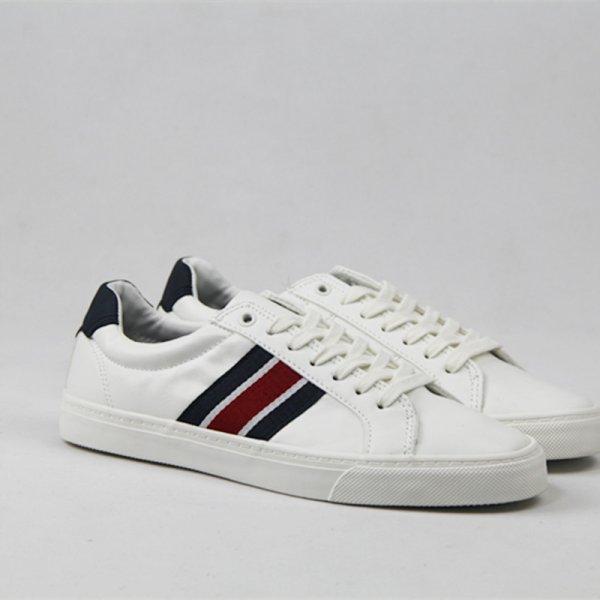 画像1:  Men's Lace-up milky white low-cut lace casual shoes simple sneakers     シンプルレースアップ3本ラインスニーカーカジュアル シューズ  (1)
