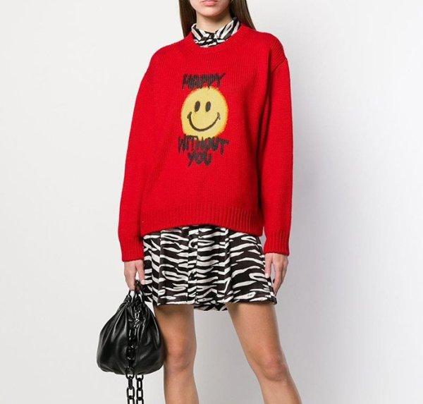 画像1: Women's loose smiley graffiti sweater スマイリー スマイル付き長袖セーター プルオーバー  (1)