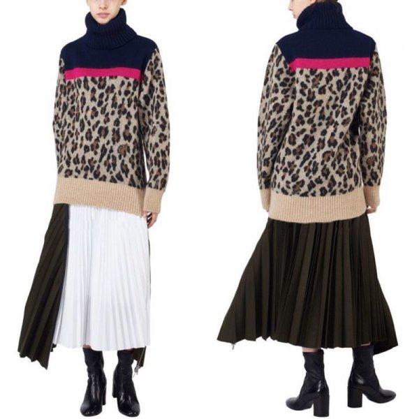 画像1: Women's  high collar classic leopard contrast color stitching knit 豹柄レオパードハイネック長袖セーター プルオーバー  (1)