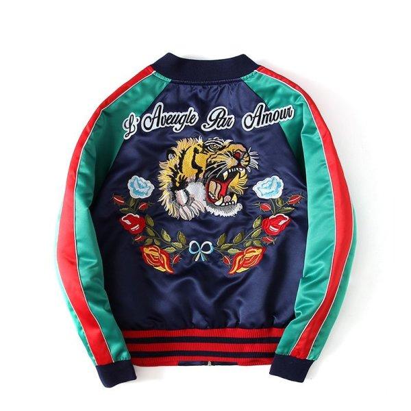 画像1: men's Yokosuka Tiger Flower Embroidery Baseball Jacket blouson ユニセッ クス男女兼用タイガー&フラワー刺繍スカジャン スタジャン ジャケット (1)