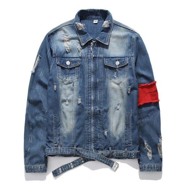 画像1: men's wash old loose hole denim jacketj blouson ユニセッ クス男女兼用デニムダメージジップアップGジャン ジャケットブルゾン (1)