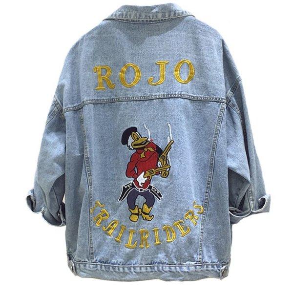 画像1: women's loose denim  Donald Embroidery Denim G Jean Jacket coat デニムドナルド刺繍付きGジャン ジャケット (1)