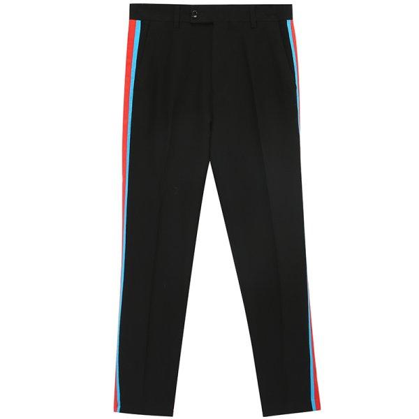 画像1:  Men's side webbing straight slim casual pants  trousers メンズサイドステッチラインパンツ カジュアルパンツ  (1)