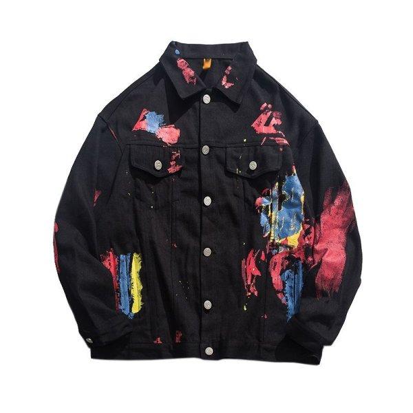 画像1: men's graffiti splash ink denim jacket blouson ユニセッ クス男女兼用グラフィックペイントデニムGジャン ブルゾン (1)