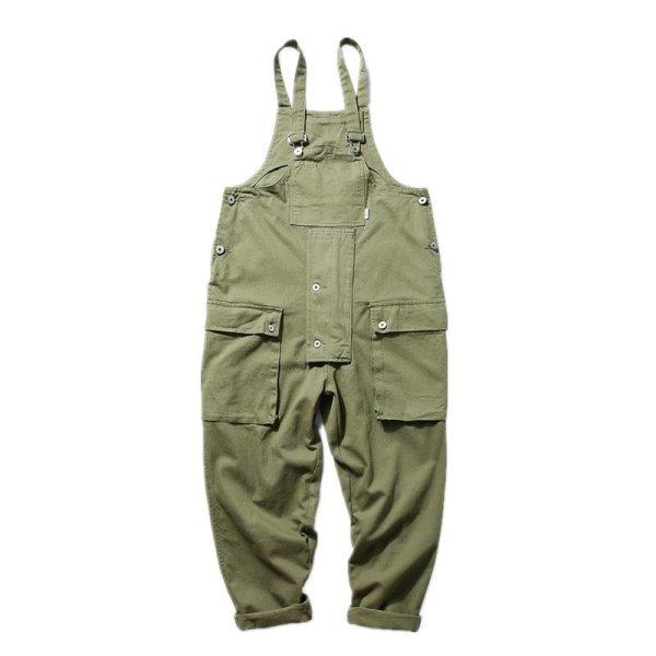 画像1:  Men's overalls lovers loose straight pocket casual trousers jumpsuit   メンズオーバーオールルーズストレートポケットジャンプスーツパンツ  (1)