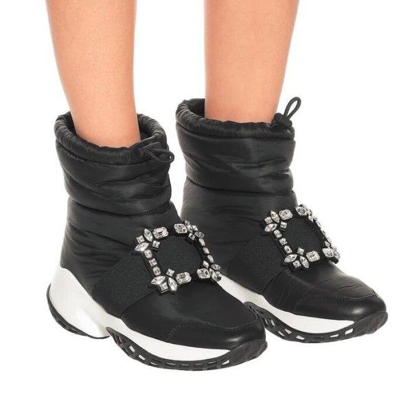 画像1:  women's  square buckle rhinestone wild short boots down leisure snow boots スクエアバックルラインストーンワイルドショートブーツ ダウンレジャースノーブーツ (1)
