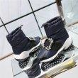 画像7:  women's  square buckle rhinestone wild short boots down leisure snow boots スクエアバックルラインストーンワイルドショートブーツ ダウンレジャースノーブーツ (7)