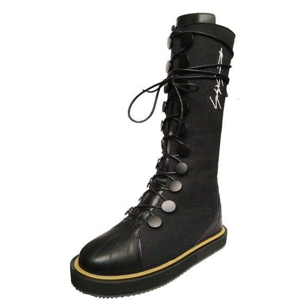 画像1:  women's  British style flat laced  middle boots フラットレースアップレザージップブーツ  (1)