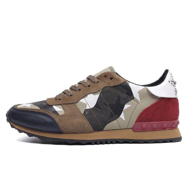 画像1:  Men's Lace-up low-cut  camouflage leather casual sports shoes sneakers     シンプルレースアップ迷彩カモフラージュスニーカー カジュアル シューズ  (1)